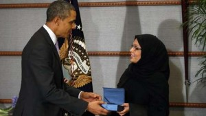 U.S.-President-Obama-presents-executive-director-of-Saudi-Arabias-National-Family-Safety-Program-Al-Muneef-with-U.S.-Secretary-of-States-International-Woman-of-Courage-Award-in-Riyadh